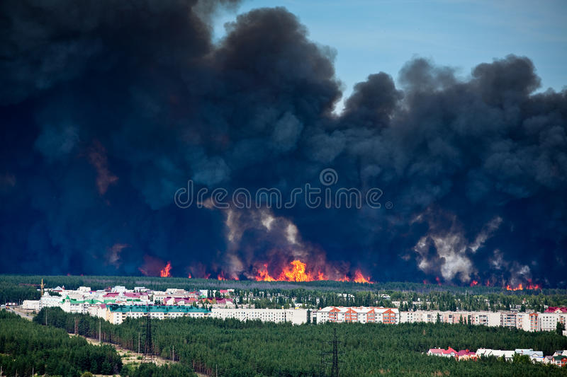 Download Fire Near To Apartment Houses Stock Image - Image: 18130791