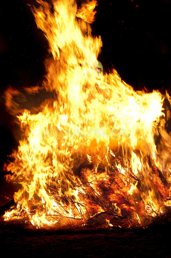Fire at night royalty free stock photo