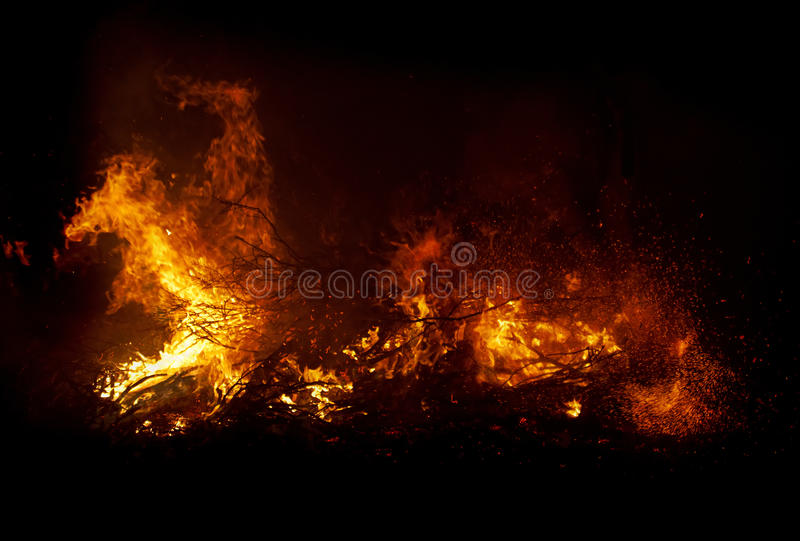 Fire at night royalty free stock photography