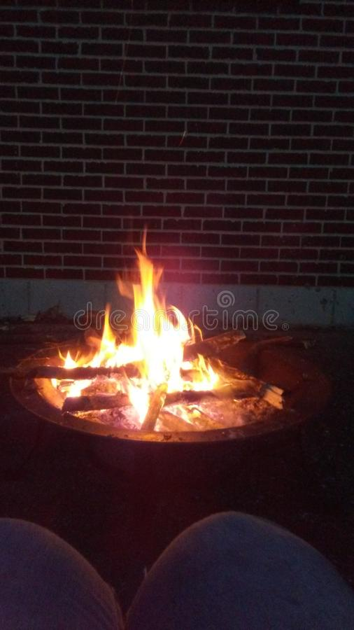 Fire. At night in pit royalty free stock images