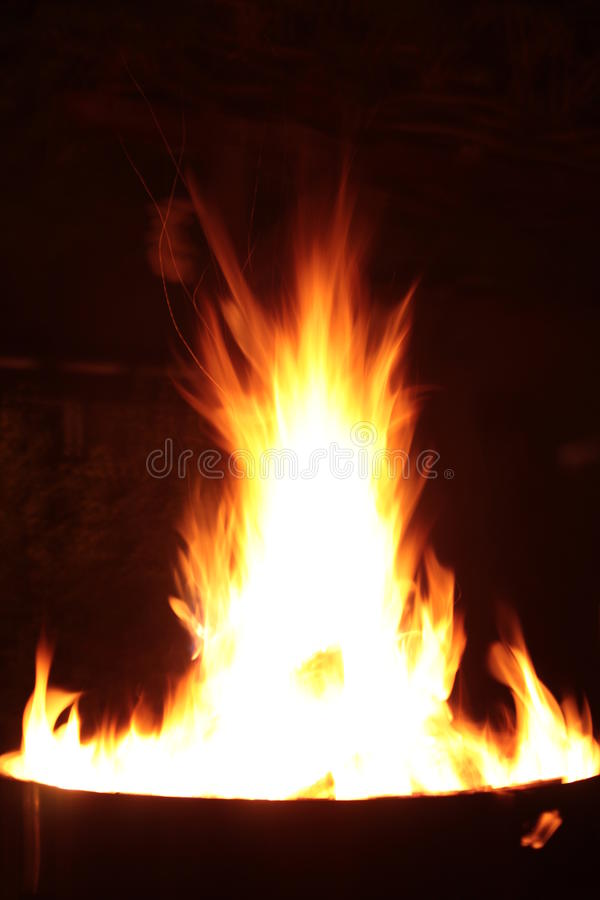Fire in the night stock image