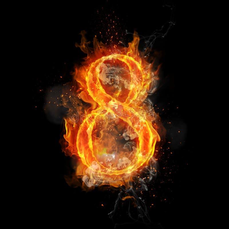 Fire Number 9 Nine Of Burning Flame Stock Illustration