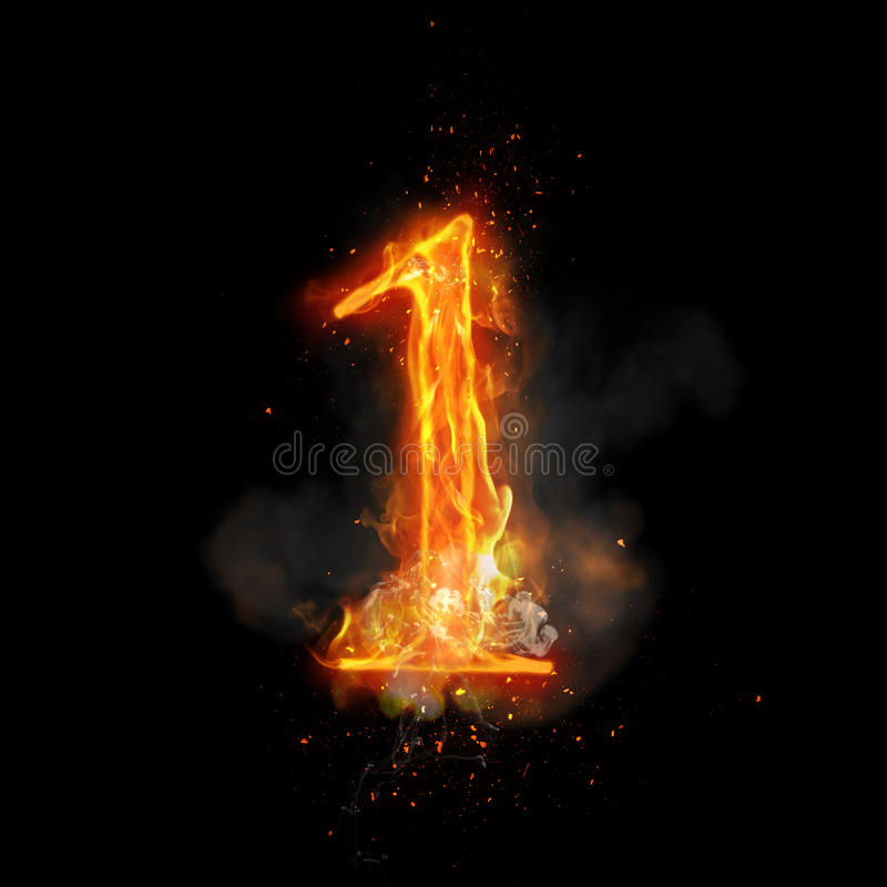 Fire Number 6 Six Of Burning Flame Stock Illustration