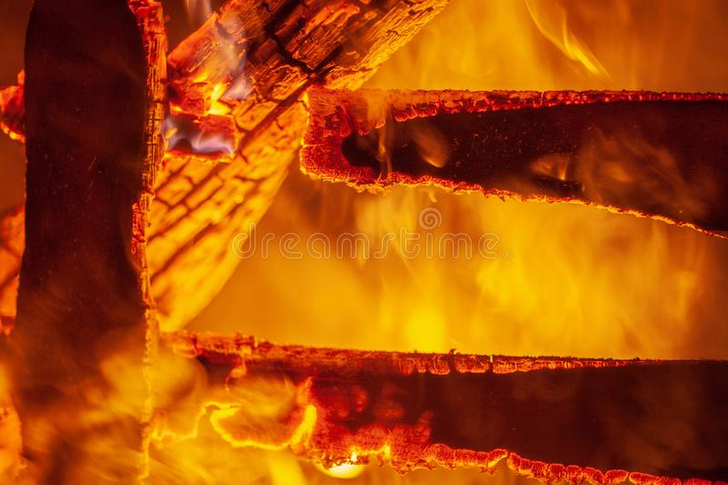 The fire in the old wooden house royalty free stock photos
