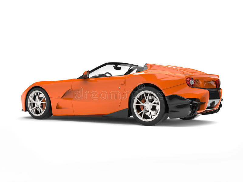Fire orange modern convertible super sports car - back view studio shot royalty free illustration