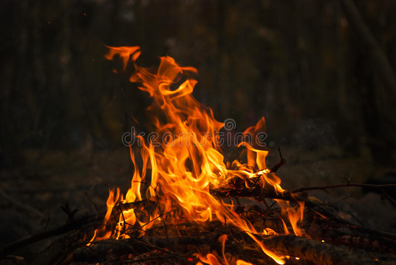 Fire outdoor 3. A camp fire burning, outdoor night scene stock images