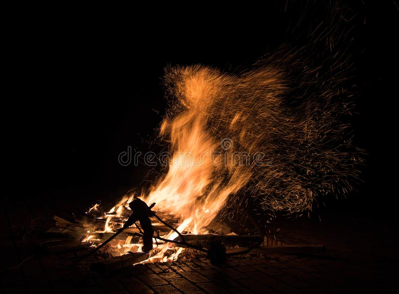 Fire outdoor,kunming royalty free stock photography