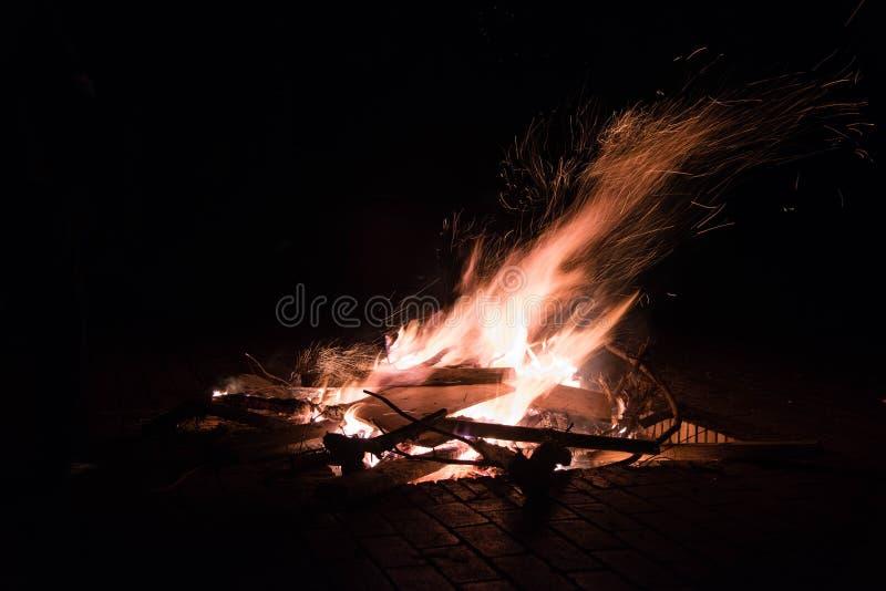 Fire outdoor,kunming. Night fire by nikkon D810,fire lightn royalty free stock image