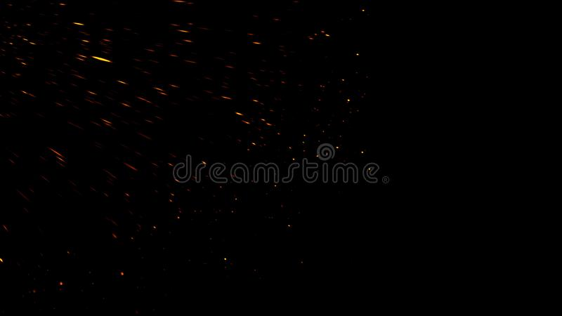 Fire particles effect dust debris isolated on black background, motion powder spray burst. Design element. Fire particles effect dust debris isolated on black stock images