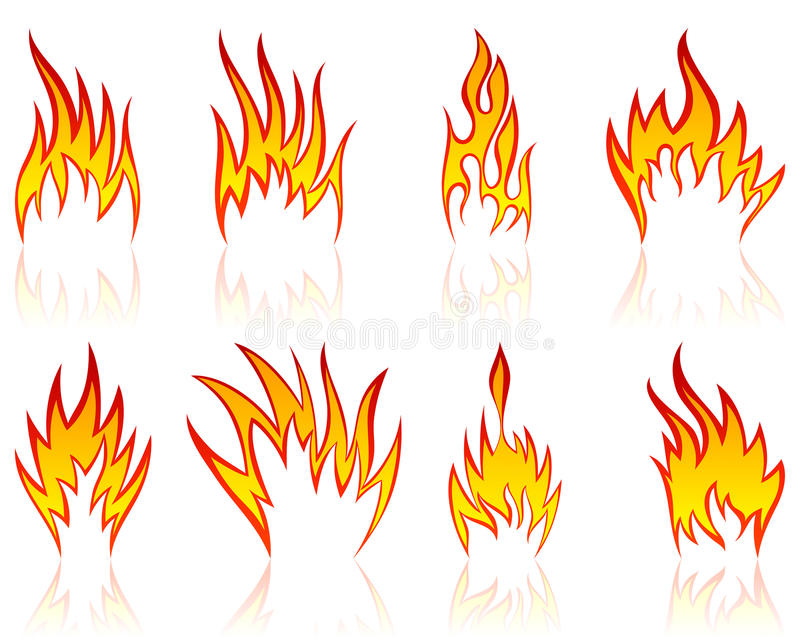 Fire patterns set royalty free stock images