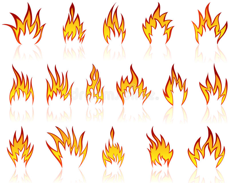 Fire patterns set royalty free stock photos