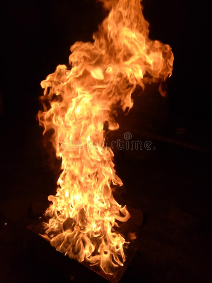 Fire at peek. On hight stock images
