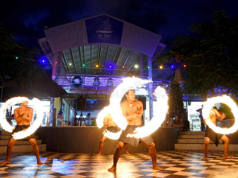 Fire performance in Fiji stock photography