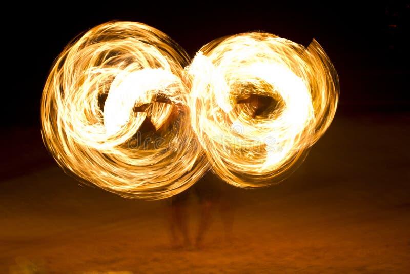 Fire performance at night on Koh Tao Island, Thailand stock image