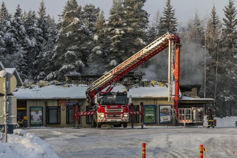 Fire. Petrol station in winter morning royalty free stock images