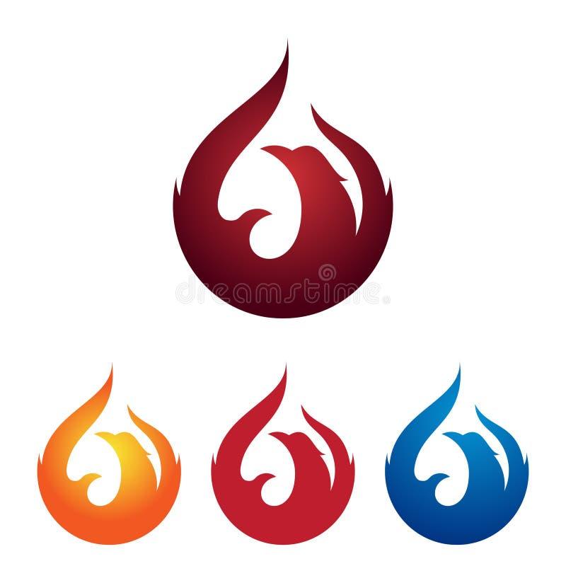 Fire Phoenix Bird Burning Flame Logo Illustration stock illustration
