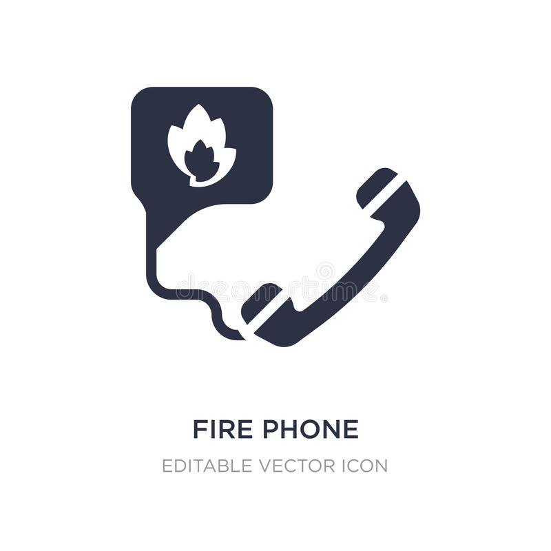 Fire phone icon on white background. Simple element illustration from Security concept. Fire phone icon symbol design royalty free illustration