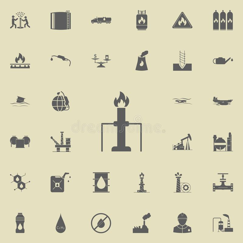 fire and pipe icon. Oil icons universal set for web and mobile stock illustration