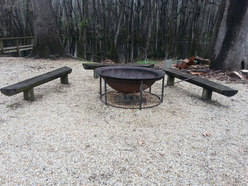 Fire pit with benches stock images