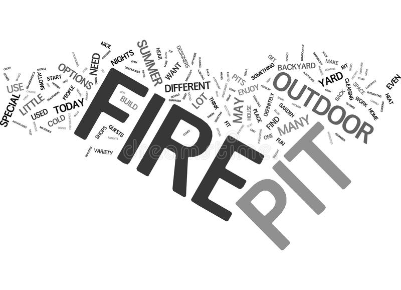 Fire Pit Essentials Text Background Word Cloud Concept stock illustration