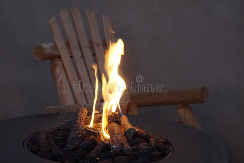Fire pit. A picture showing a nice fire pit with the flames dancing stock photography