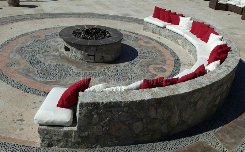 Fire pit. Seats around a fire pit royalty free stock photo