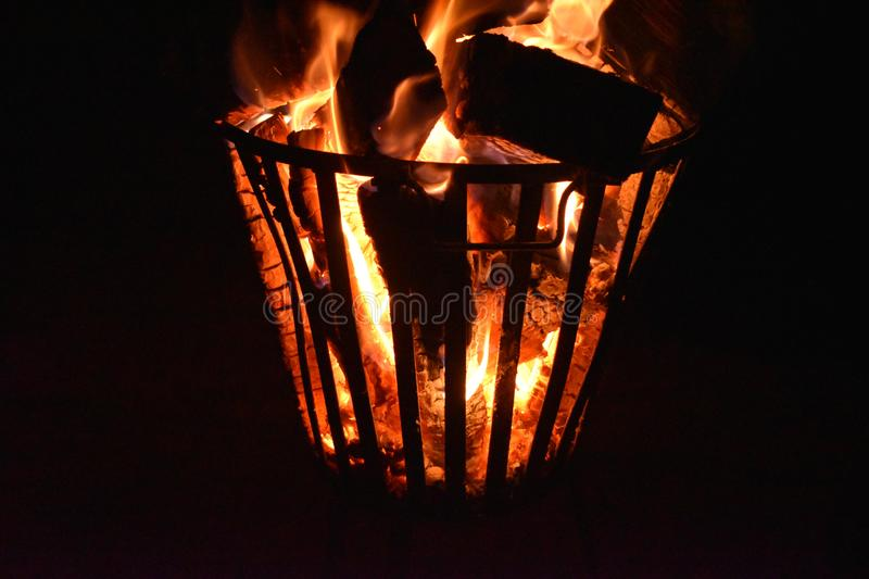 Fire in a fire pit stock image