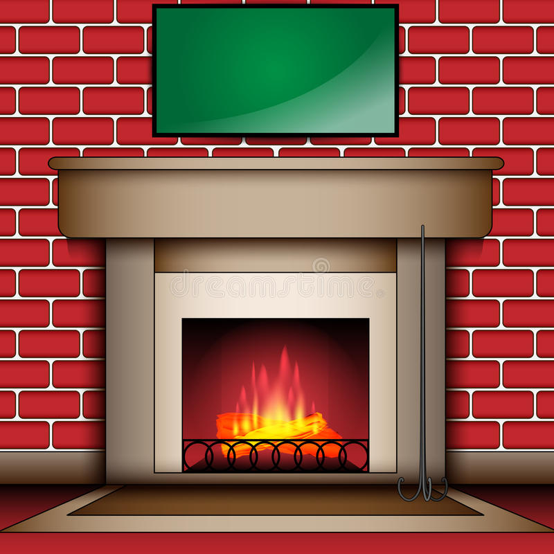 Fire Place With Blank Message Board stock photos