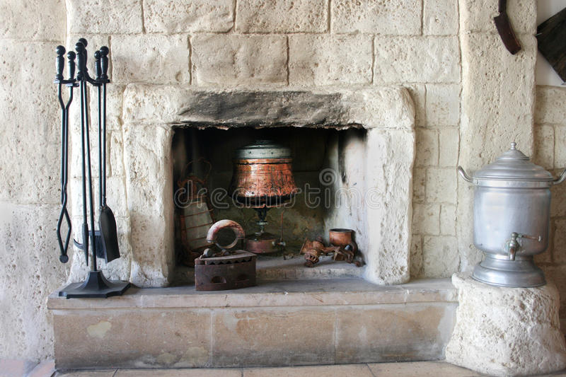 Download Fire-place in old house stock photo. Image of cook, flat - 12261780