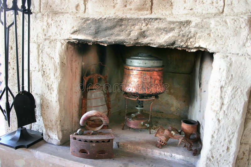 Fire-place in old house royalty free stock photos