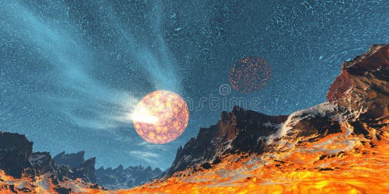 Fire planet stock illustration