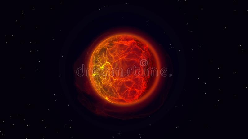 Fire planet in outer space. Burning sun with solar flares and energy charges. Rotating, ball beautiful tongues of fire and flame. Fire ball stock illustration