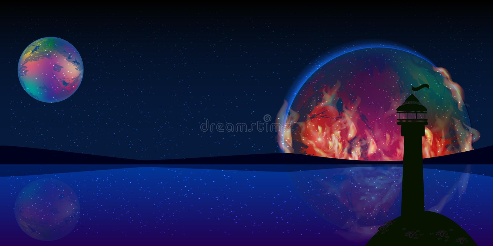 Fire planet signal space lighthouse stock photo