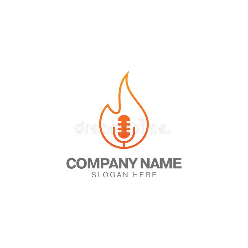 Fire Podcast Logo Template, Headset And Flame Icon