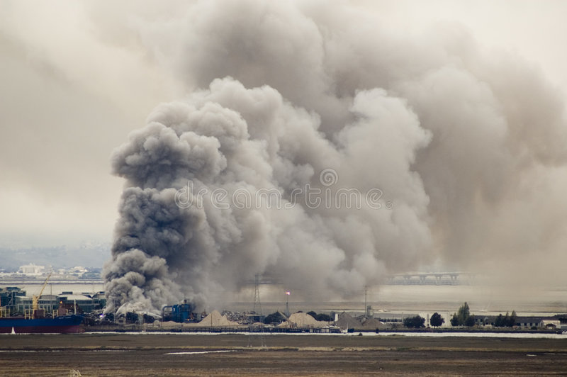 Fire at the Port royalty free stock photos