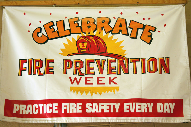 Fire Prevention Week Sign. A Fire Prevention Week Sign in a firehouse stock images