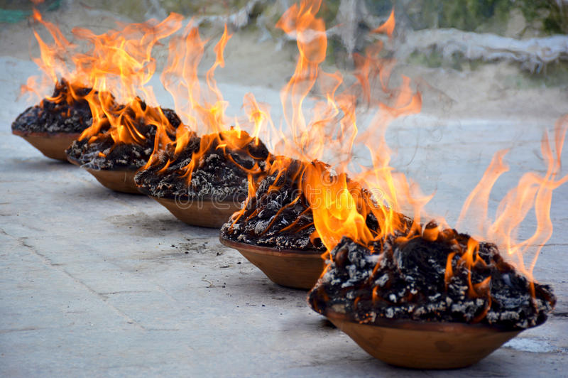 Fire puja close up royalty free stock image