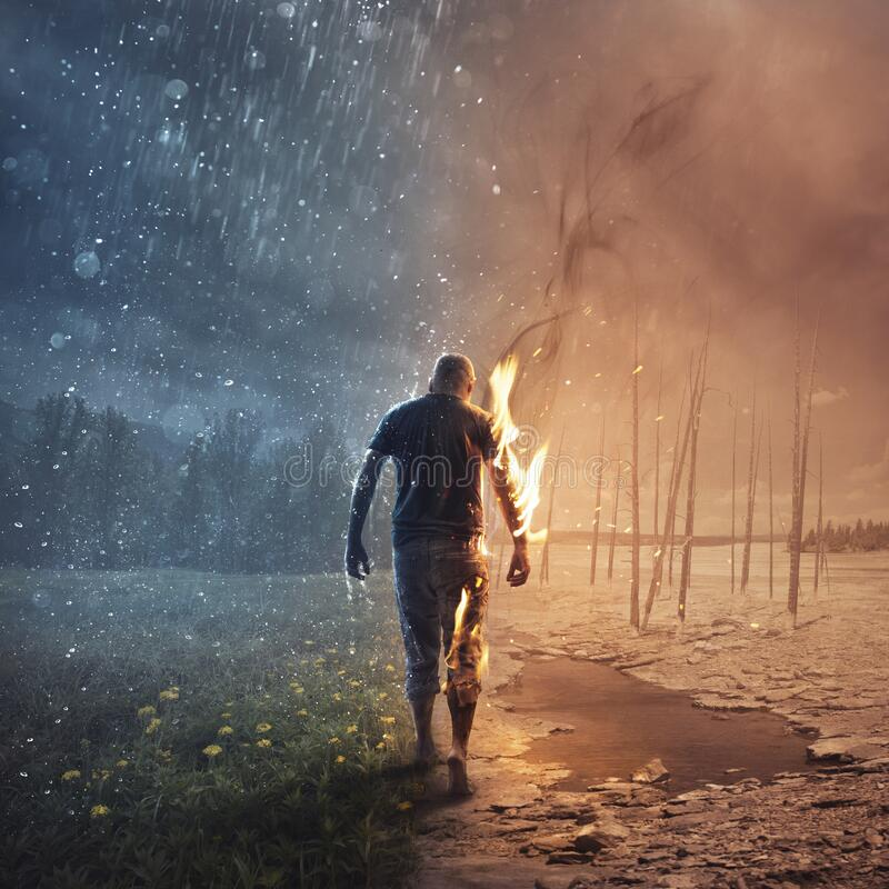 In fire and rain stock photography