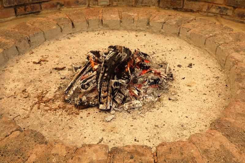 Fire ready for the evening braai. The needed fire is almost ready for the family braai in Pretoria South Africa on a lovely windless summer evening with friends royalty free stock image
