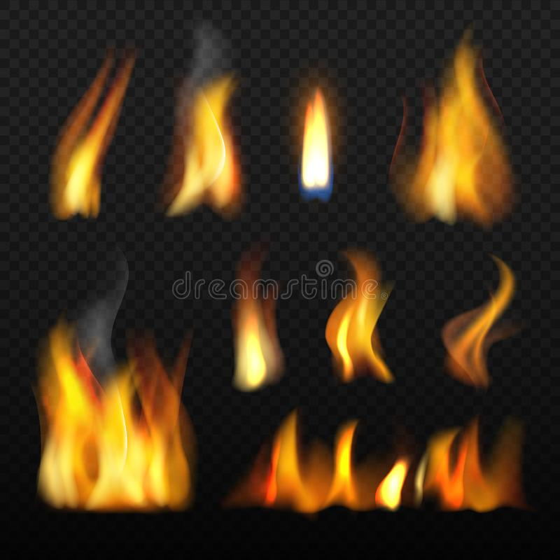 Fire realistic. Red orange tongue of flame blazing 3d vector collection on transparent background royalty free illustration