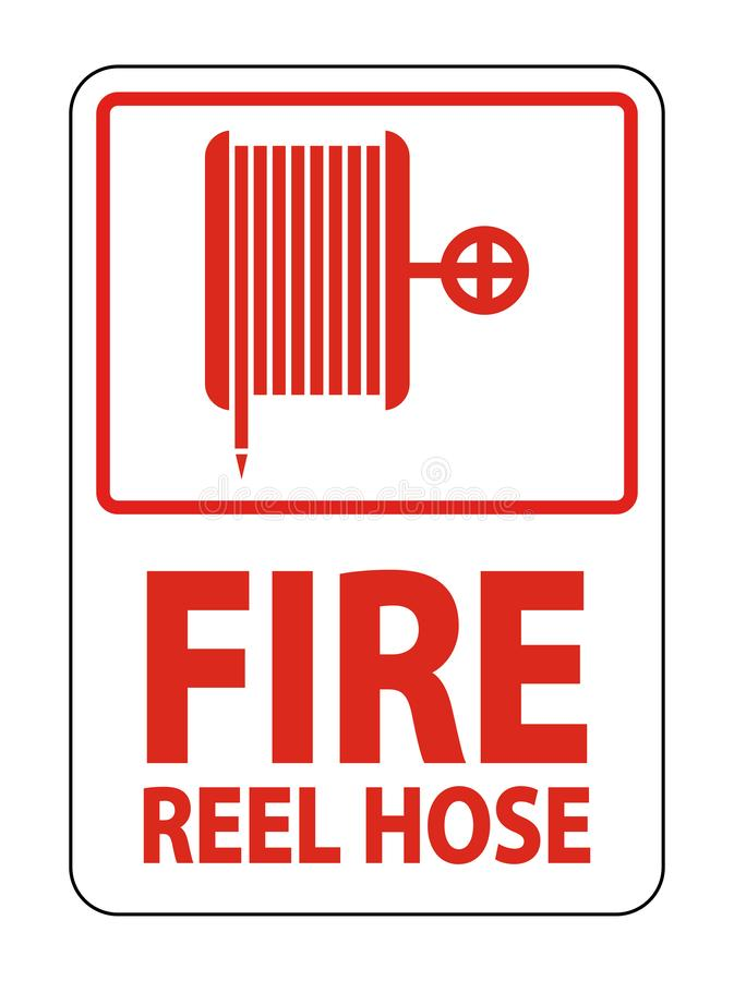 Fire Reel Hose Sign Isolate On White Background,Vector Illustration. Emergency equipment safety red water danger rescue hydrant extinguish pipe alarm protection stock illustration