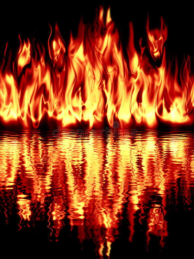 The fire reflected in water on a black background. vector illustration