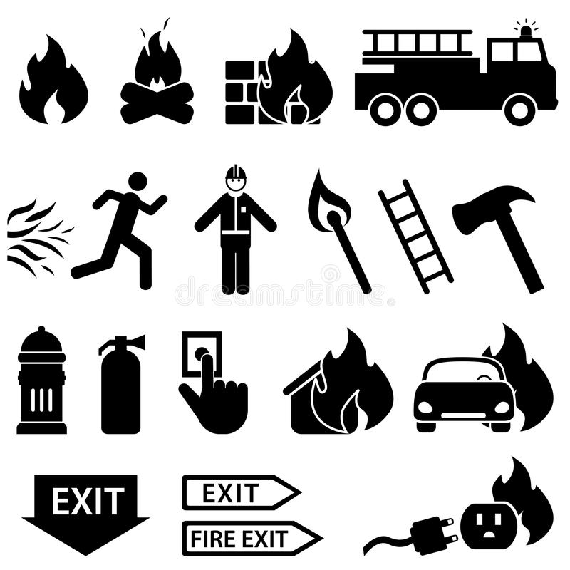 Fire related icon set stock illustration