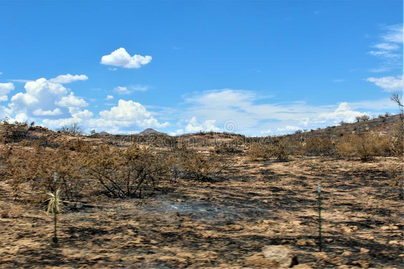 Mountain Fire at Bartlett Lake Reservoir, Tonto National Forest, Maricopa County, State of Arizona, United States. Fire remains at Mountain Fire and scenic stock photo
