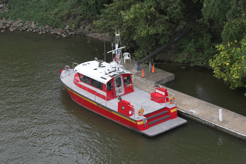 Fire and rescue boat at dock royalty free stock images