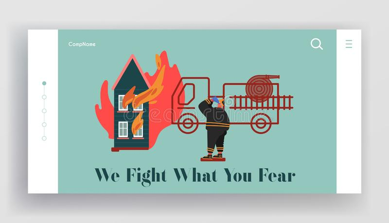 Fire rescue Department Landing Page. Fireman Fighter with Equipment Set, Truck, Hydrant, Extinguisher. Firefighter royalty free illustration