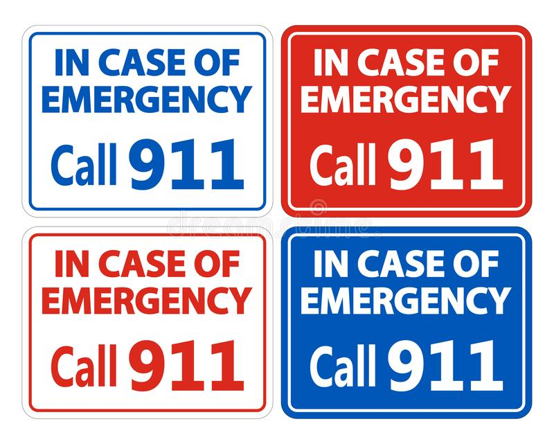 911 Fire Rescue Police Symbol Sign Isolate On White Background,Vector Illustration EPS.10. Emergency, service, help, ambulance, medical, safety, red, call royalty free illustration