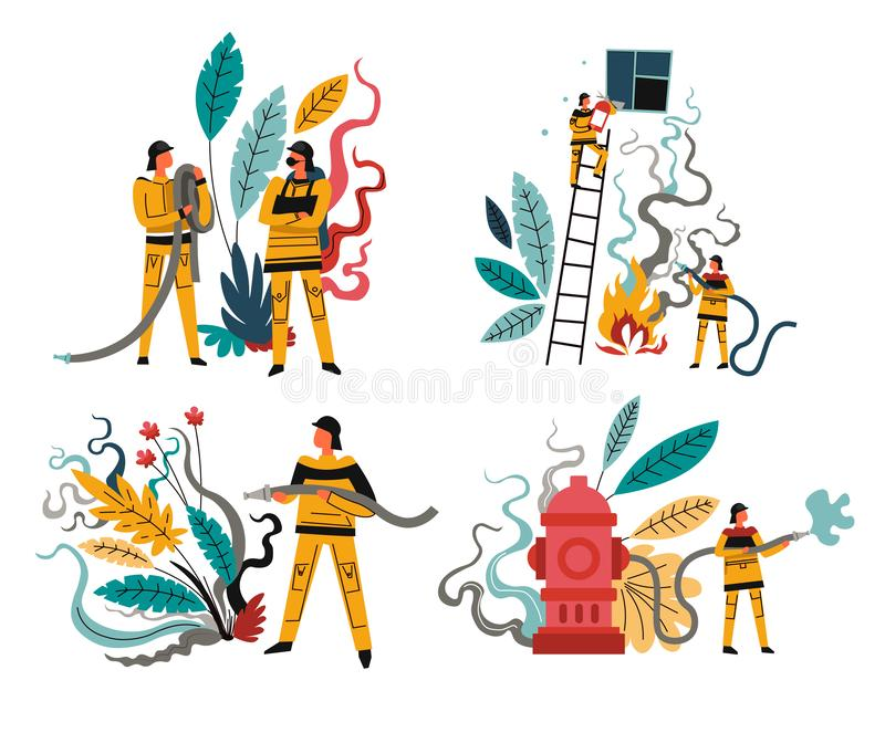 Fire rescue team, firefighters with hose and hydrant, isolated icons vector illustration