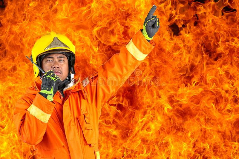 Fire rescue training, Annual training Fire fighting stock photo