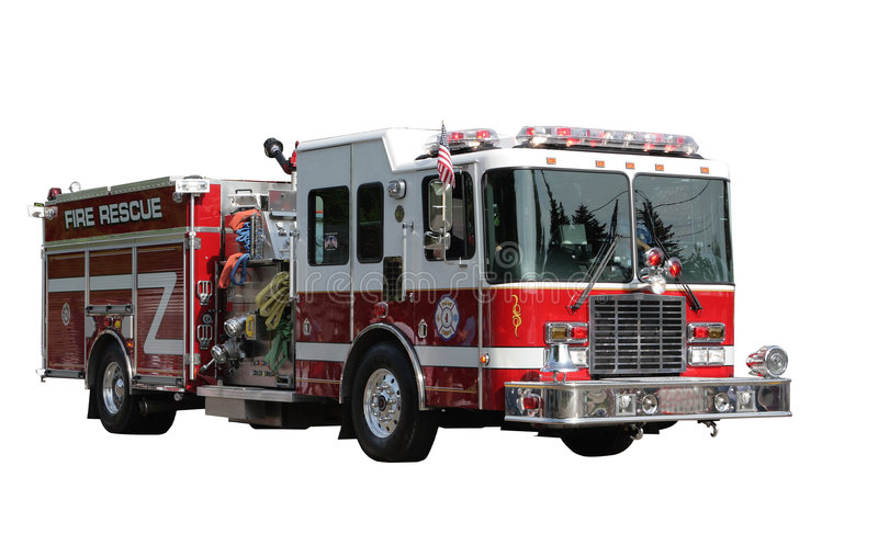 Fire Rescue Truck. Isolated on white clipping path included royalty free stock image